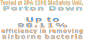 Tested at HPA CEPR BioSafety Unit,  Porton Down  Up to 98.11% efficiency in removing airborne bacteria